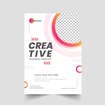 Creative business brochure, template layout with copy space on white background.