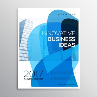 Creative business brochure with blue abstract shapes