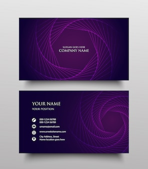 Creative business card template design, two sided with fluid gradient on purple background
