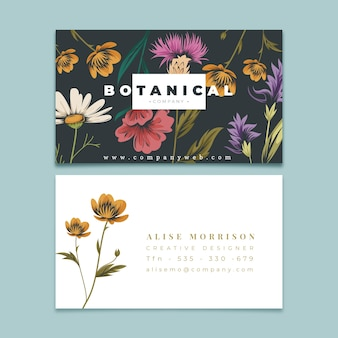 Creative business card template with retro flowers
