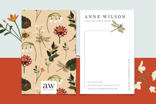 Creative business card template with vintage flowers