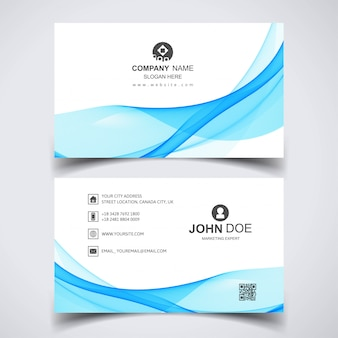 Creative business card with blue waves