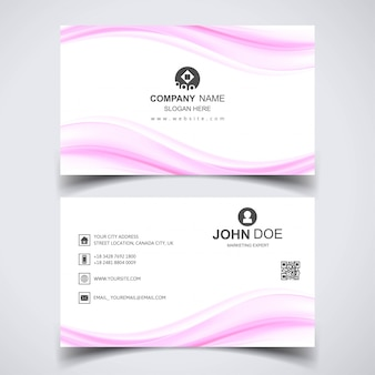 Creative business card with pink waves