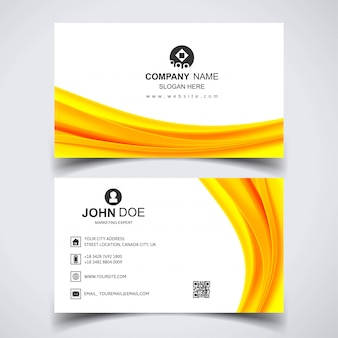 Creative business card with yellow waves