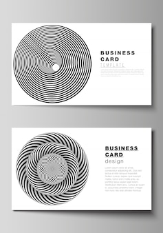 Creative business cards design templates. abstract 3d geometrical  with optical illusion black and white