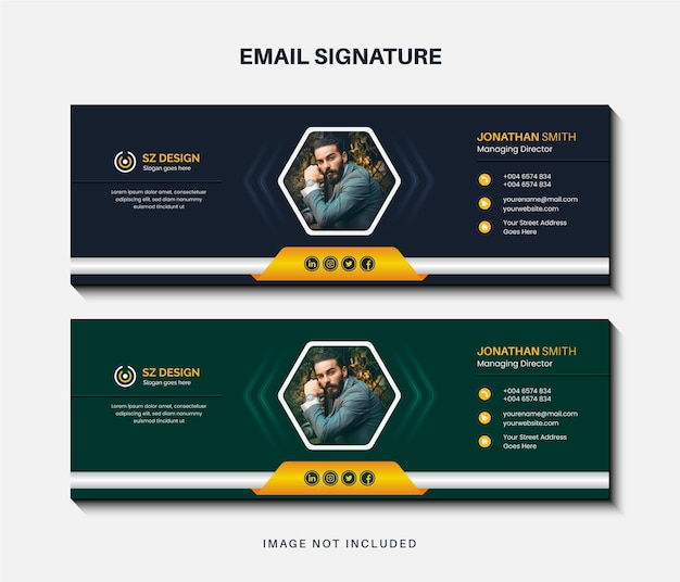 Creative business email signature template design or email footer and personal social media cover