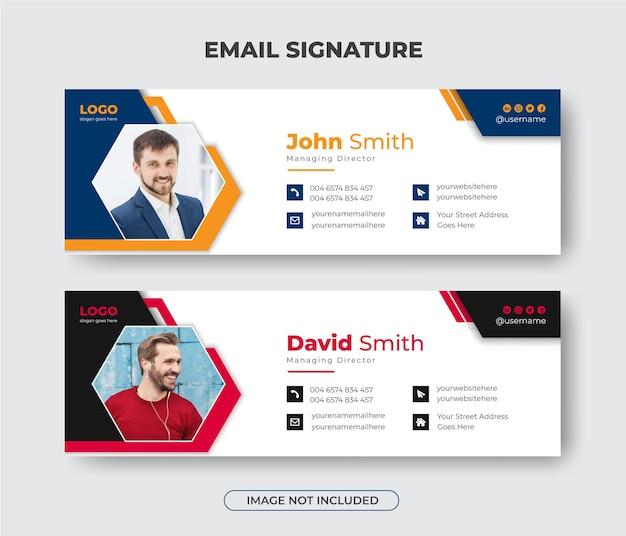Креативный дизайн шаблона подписи для делового электронного письма или нижний колонтитул электронного письма и обложка в личных социальных сетях
