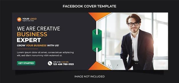 Creative business expert web or social media or facebook cover banner template design vector premium