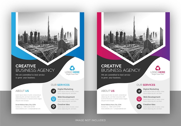 Creative business flyer and borchure cover page design template