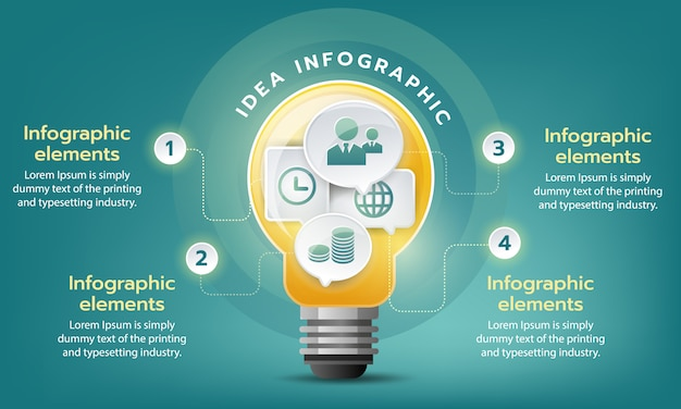 Creative  business goal grow, vector infographic template with light bulb