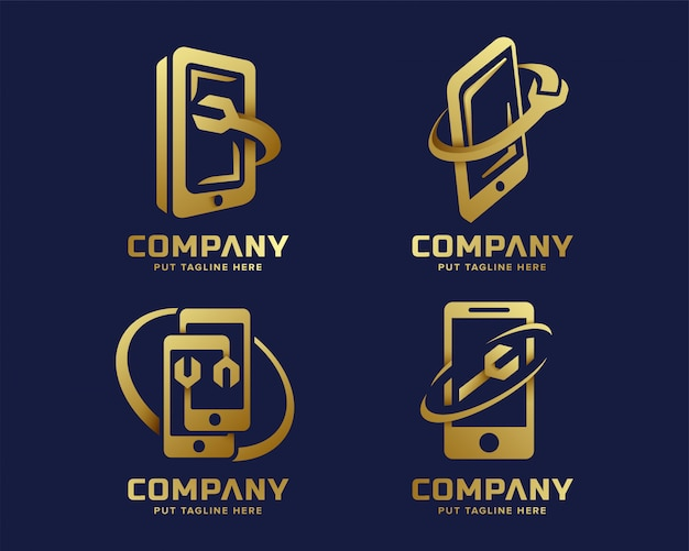 Creative business golden fix phone cellular technology logo collection