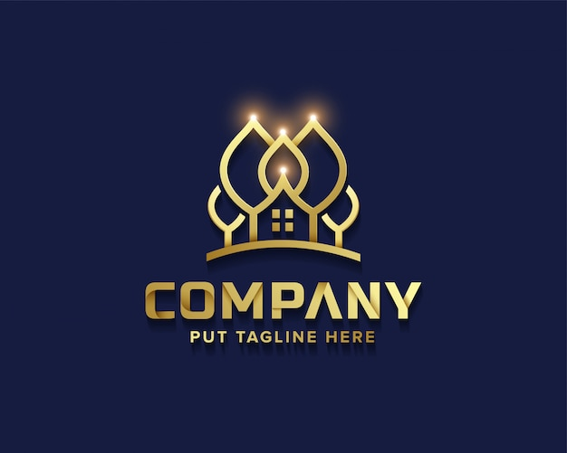 Creative business golden tree house logo collection