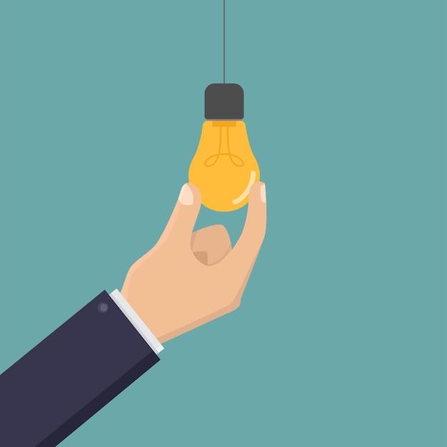 Creative business hand holding light bulb design illustration