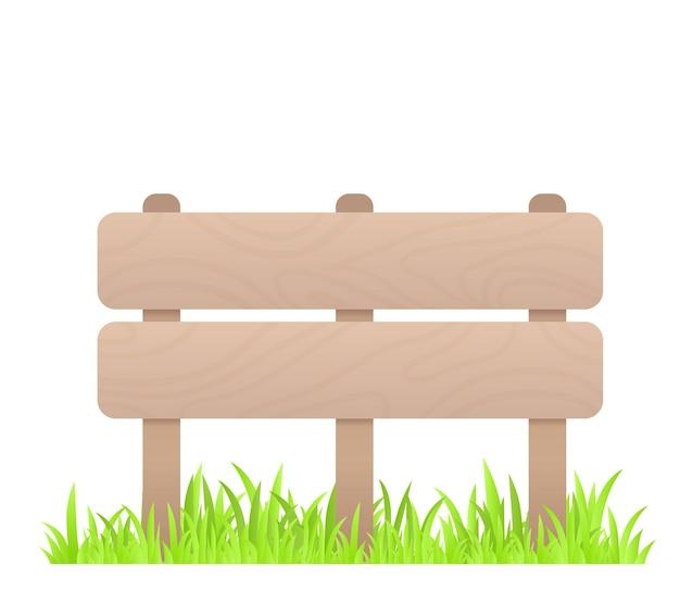 白い背景の上の草と木製の低いフェンスの創造的なビジネスイラスト