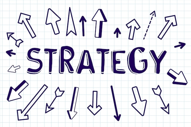 Креативная бизнес-иллюстрация со стратегией слова и разными стрелками