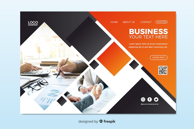 Creative business landing page with photo