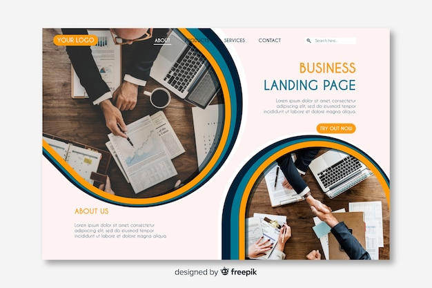 Creative business landing page with photos