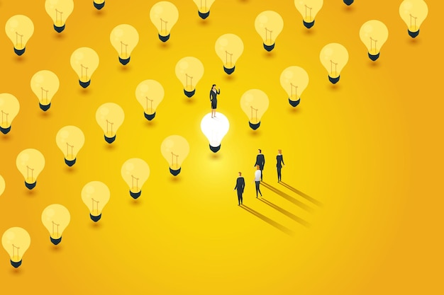 창의적인 비즈니스 리더는 전구 하나를 켜기로 선택합니다. 팀 리더십의 성공을 보여줍니다.