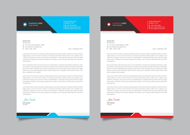 Creative business letterhead template with red, blue, and black shape