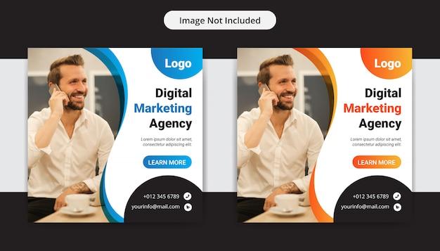 Креативное бизнес маркетинговое агентство социальные медиа инста пост дизайн Premium векторы