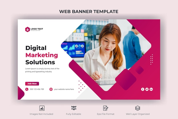 Creative business marketing web banner and youtube thumbnail template