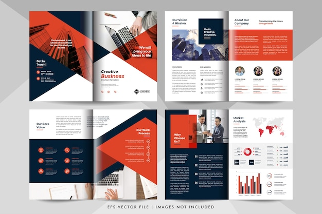 クリエイティブなビジネスプレゼンテーションのレイアウトテンプレート。企業のビジネス小冊子テンプレート。