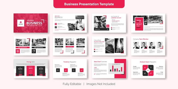 Creative business presentation slide template set
