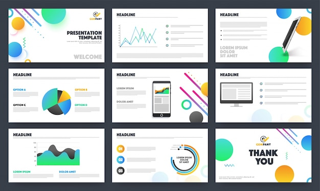 Creative business presentation templates layout.