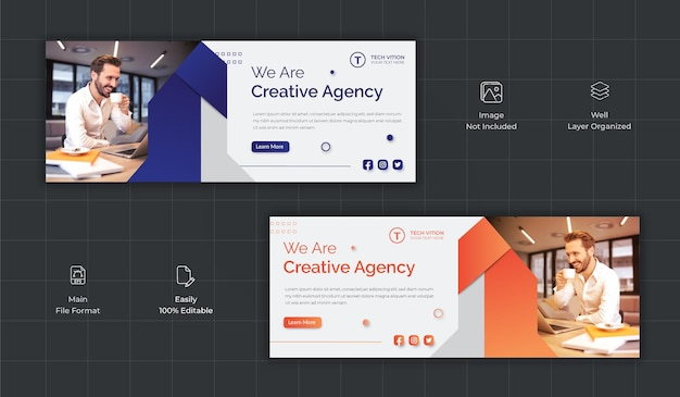 Creative business social media banner template with facebook cover