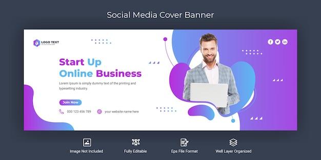 Creative business social media facebook cover banner template