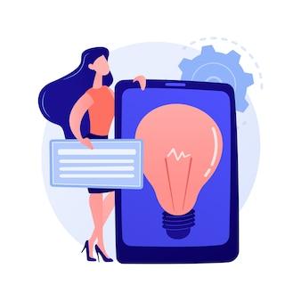 クリエイティブなビジネスソリューションのプレゼンテーション。収益性の高いスタートアップ、アイデア、企業開発戦略。タブレット画面の電球。ブレーンストーミングシンボルの概念図