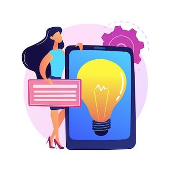 창의적인 비즈니스 솔루션 프레젠테이션. 수익성있는 시작, 아이디어, 회사 개발 전략. 태블릿 화면에 전구. 브레인 스토밍 기호.