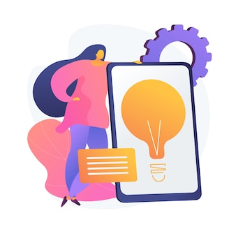 Creative business solution presentation. profitable startup, idea, company development strategy. lightbulb on tablet screen. brainstorming symbol.