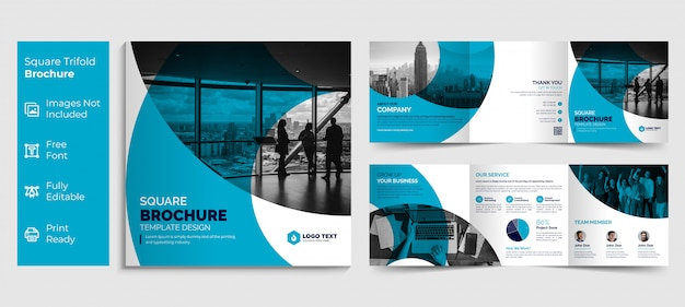 Creative business square trifold brochure template design