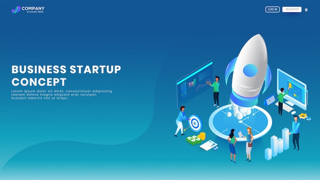 Creative business startup banner or landing page.