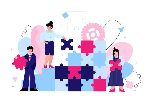 一緒にジグソーパズルを解くクリエイティブビジネスチームバナーの人々