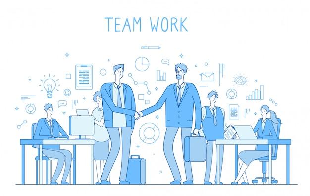 オフィスでの創造的なビジネスチームワーク