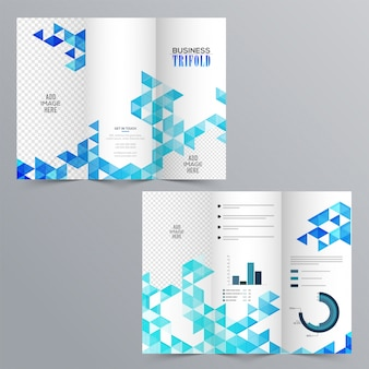 Creative Business Tri-Fold Brochure with blue abstract geometric design, infographic elements and space to add your images.