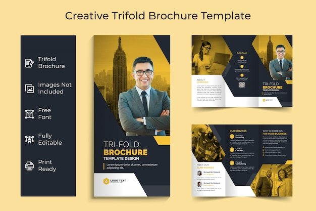 Creative business trifold brochure template design