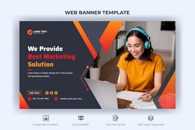 Креативный бизнес-веб-баннер, целевая титульная страница и шаблон эскиза youtube