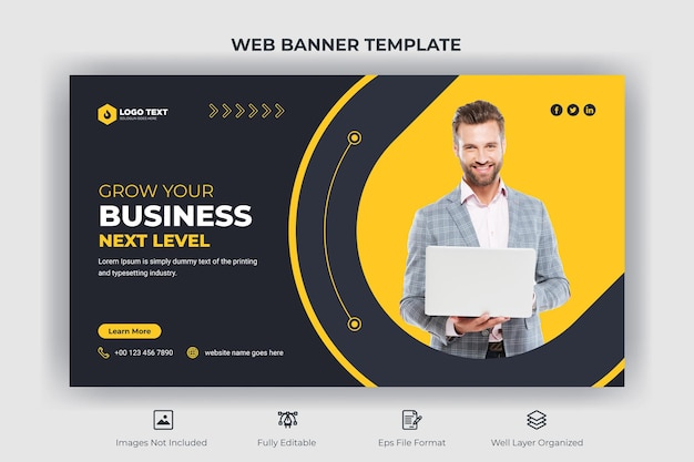 Креативный бизнес веб-баннер и шаблон эскиза youtube