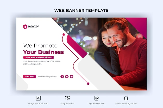 Creative business web banner and landing cover page and youtube thumbnail template