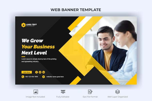 Creative business web banner and landing page and youtube thumbnail template