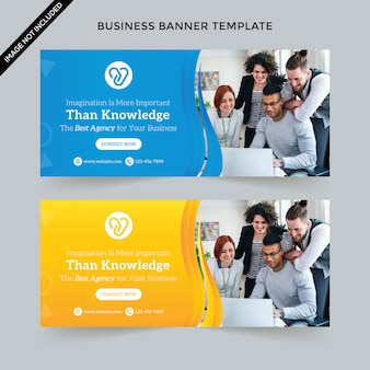 Creative business web banner template premium vector