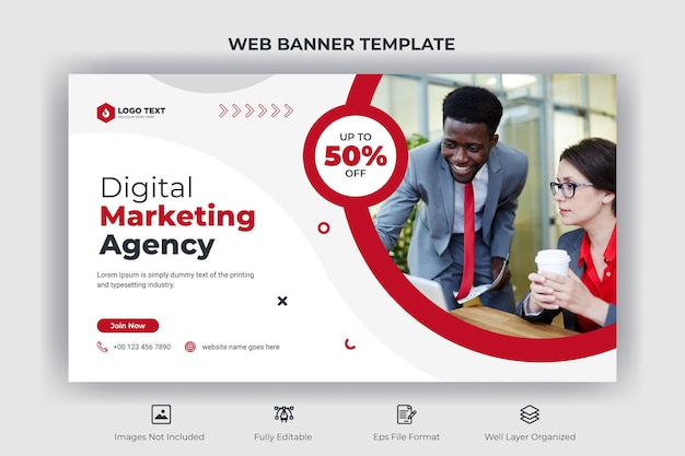 Creative business web banner and youtube thumbnail template