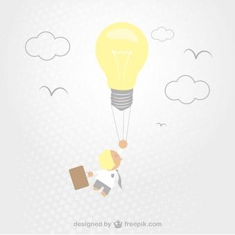 전구를 생각하는 데 창조적 인 사업가