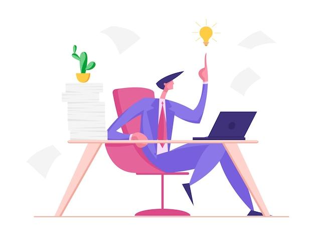 Творческий бизнесмен, имея хорошую идею деловой человек, сидя за столом