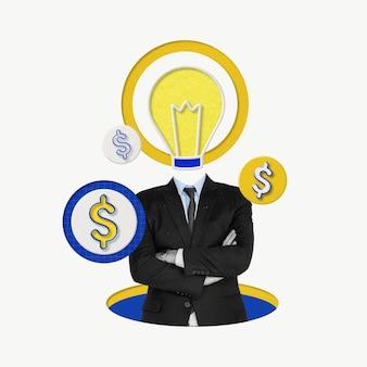 Творческий бизнесмен с лампочкой для роста маркетинговой идеи remixed media