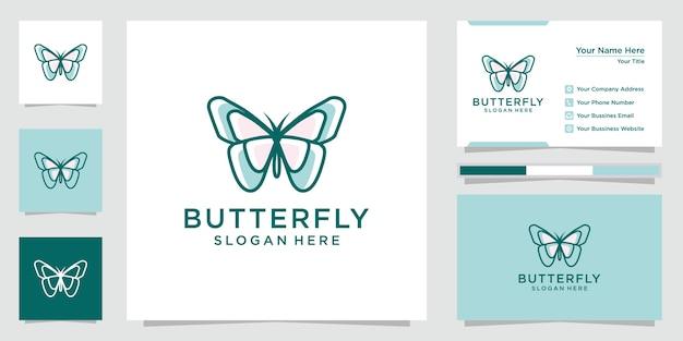 創造的な蝶のロゴのインスピレーション。ロゴ、アイコン、名刺をデザインします。プレミアムベクトル。