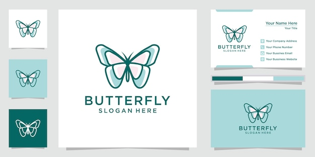 Creative butterfly logo inspiration. design logos, icons and business cards. premium vector.